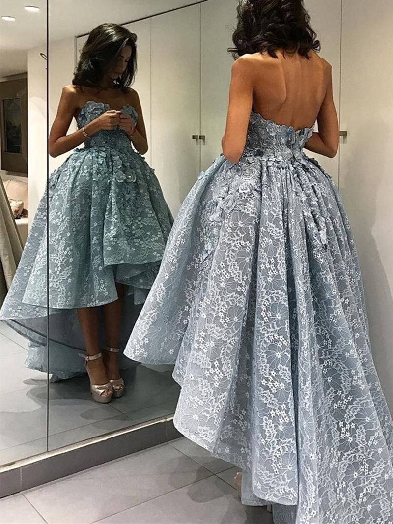 Ericdress A Line Sweetheart Lace High Low Asymmetry Evening Dress