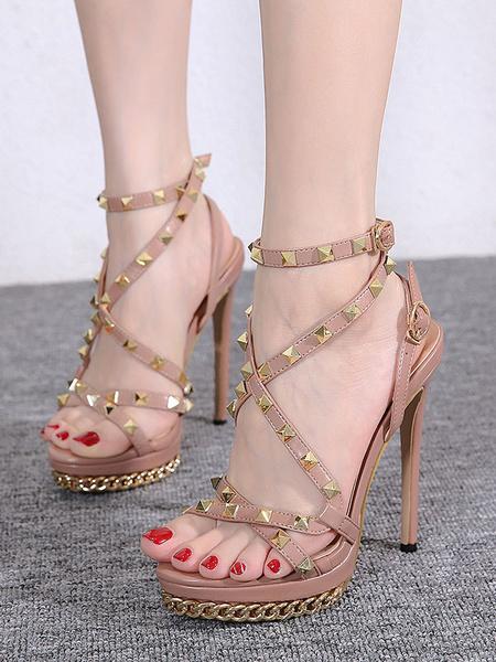 Milanoo Sandalias de tacon alto, rosa, punta abierta, remaches cruzados, sandalias con correa en el tobillo, zapatos para mujer