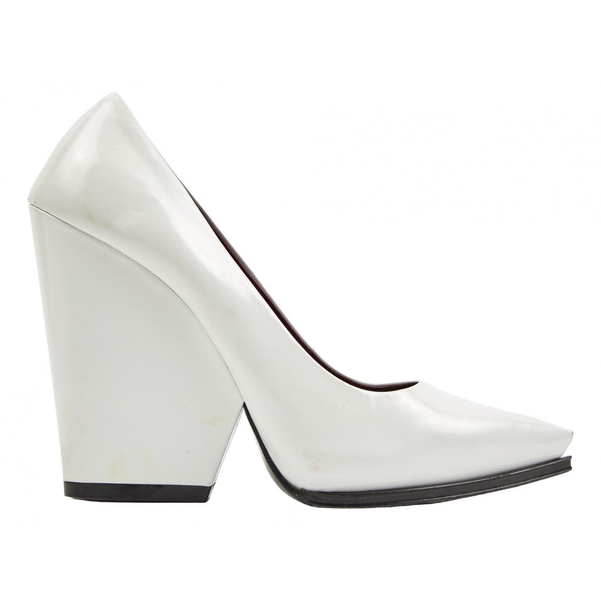 Celine \N White Leather Heels for Women 38.5 EU