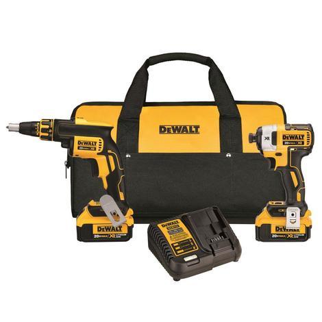 DeWalt 20 V Max* XR Drywall Screwgun & Impact Driver Kit (4.0Ah)