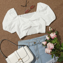 Shirred Ruched Crop Top