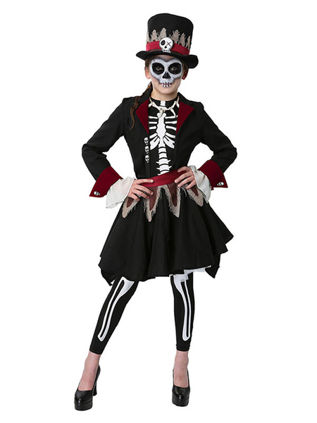 Milanoo Halloween Skeleton Day Of Dead Costume Black Two Tone 5 Pieces For Girls