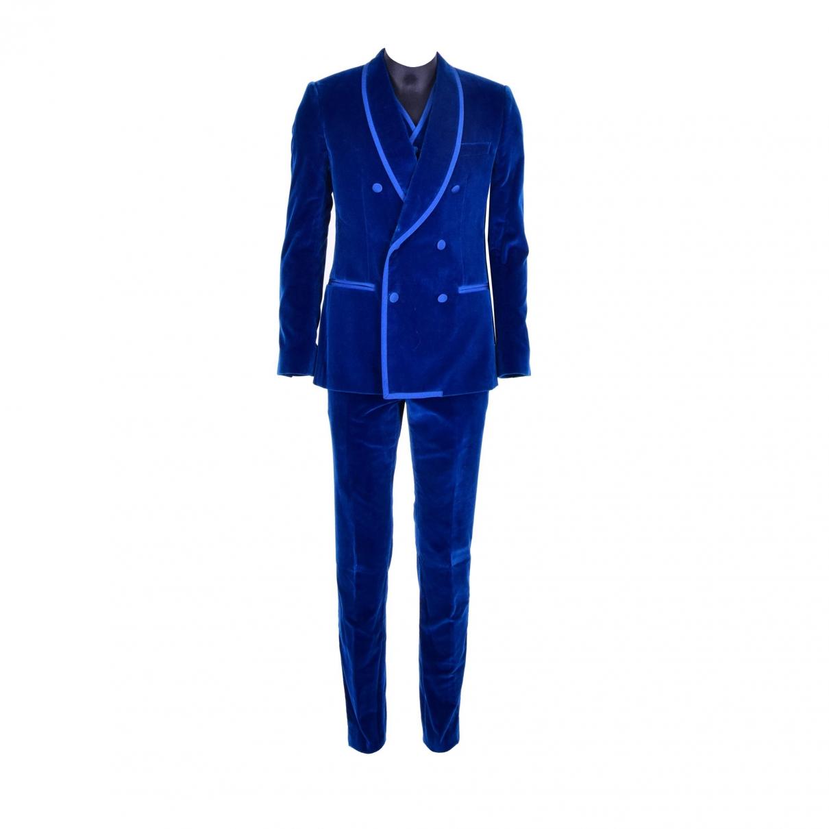 Dolce & Gabbana \N Blue Velvet Suits for Men 46 IT