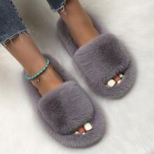 Faux Fur Wide Fit Slippers