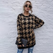 Drop Shoulder Houndstooth Sweater
