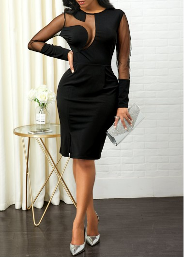 Black Dresses Side Slit Mesh Panel Back Zipper Sheath Dress - M