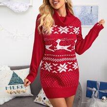 Pulloverkleid mit Stehkragen und Weihnachten Muster