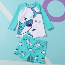Toddler Boys Shark Print Swimsuit