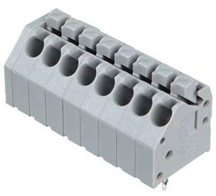 Wago 250 Series, Female 8 Pole 8 Way PCB Terminal Strip, PCB Mount, Rated At 10 (CSA) A, 5 (UL) A, 8 (IEC/EN 60664-1), Grey (5)