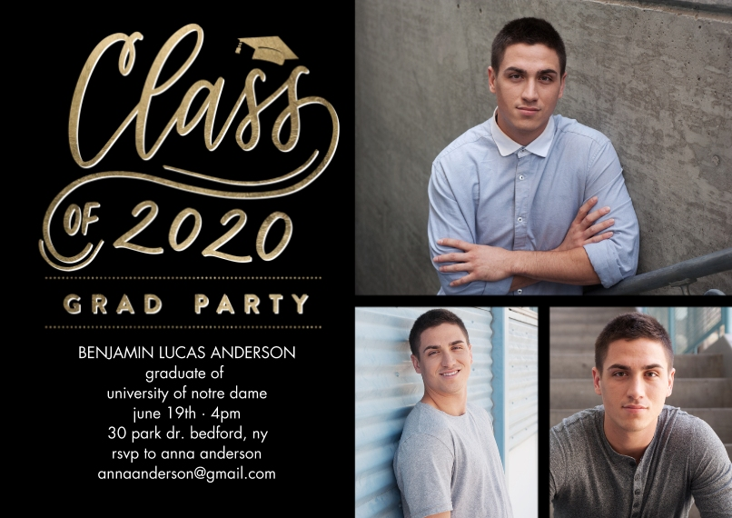 2020 Graduation Invitations 5x7 Cards, Standard Cardstock 85lb, Card & Stationery -Grad Party 2020 Simple by Tumbalina