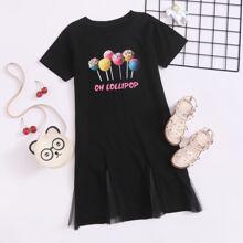 Toddler Girls Lollipop & Letter Graphic Godet Hem Dress