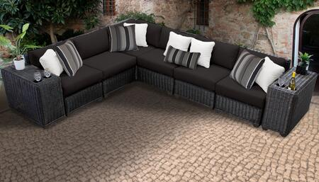 Venice Collection VENICE-08a-BLACK 8-Piece Patio Set 08a with 1 Corner Chair   5 Armless Chair   2 Cup Table - Wheat and Black