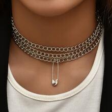 3 piezas collar de cadena con pin de seguridad
