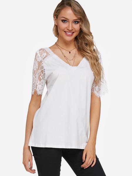 Yoins White Lace Insert V-neck Short Sleeves T-shirts