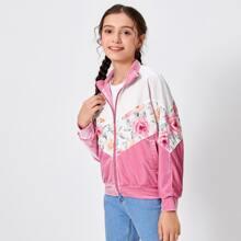 Girls Floral Print Chevron Velvet Jacket