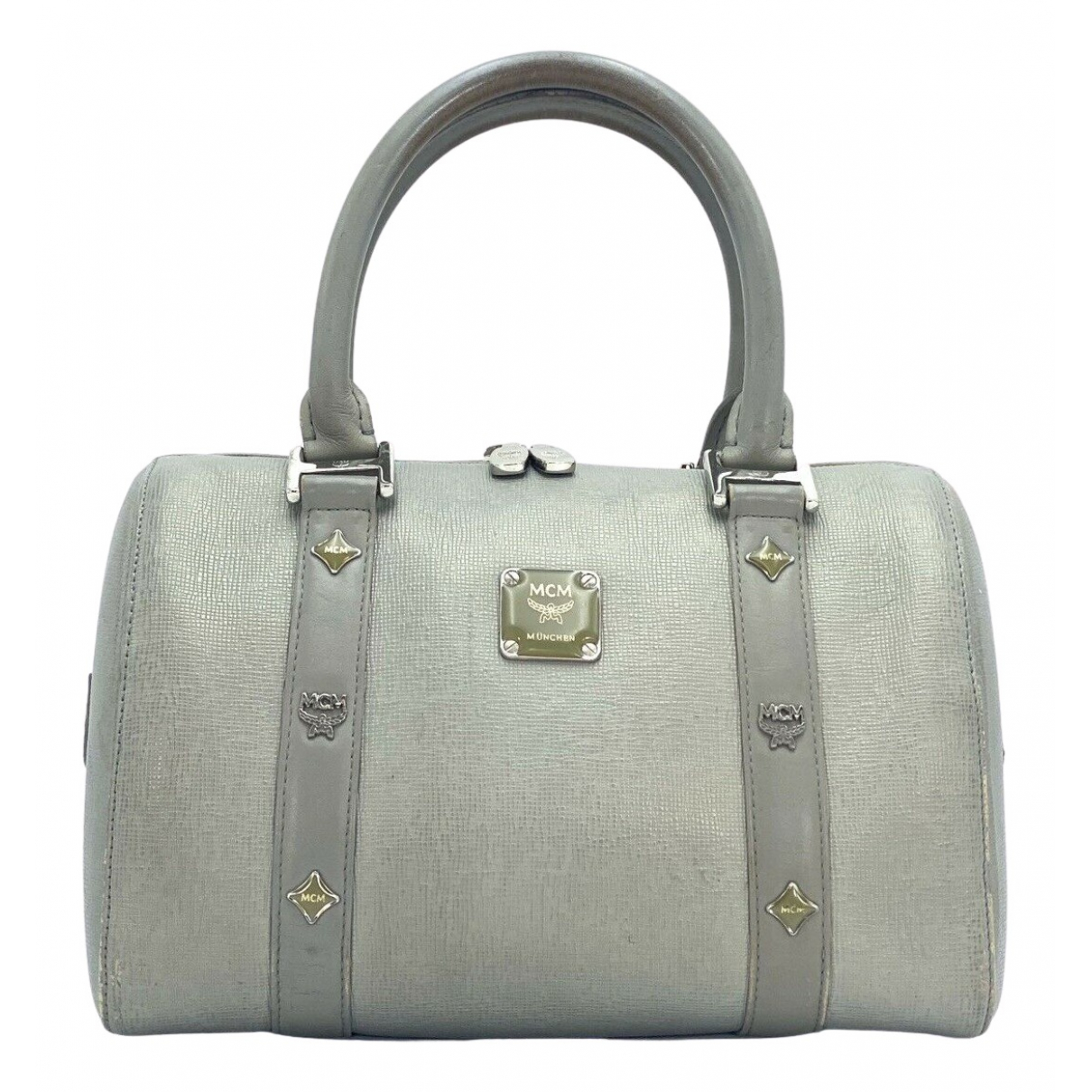 Mcm Boston Grey Leather handbag for Women N
