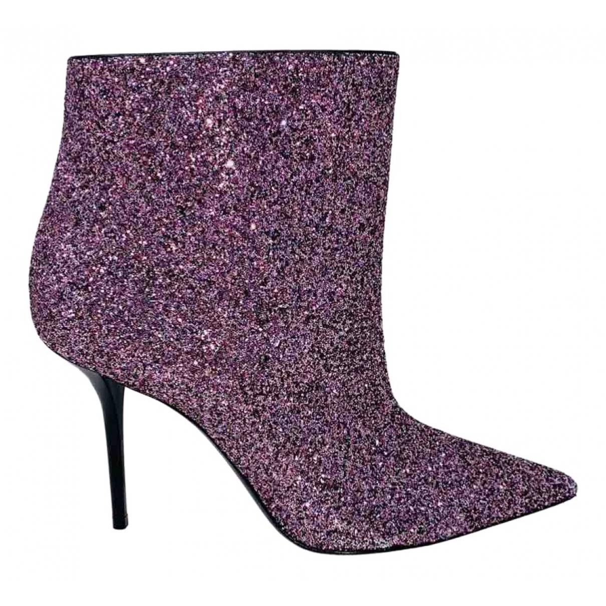 Saint Laurent - Boots   pour femme en cuir - violet