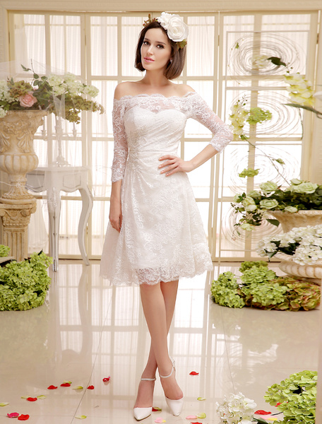 Milanoo Simple Wedding Dresses Ivory Short Lace Bridal Gown with Off The Shoulder Design