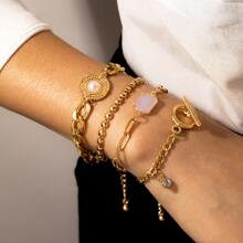 4 Stuecke Armband mit Strass Dekor