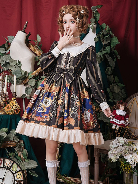 Milanoo Classic Lolita OP Dress Mechanic Heart Ruffle Bow Lace Black Lolita One Piece Dress