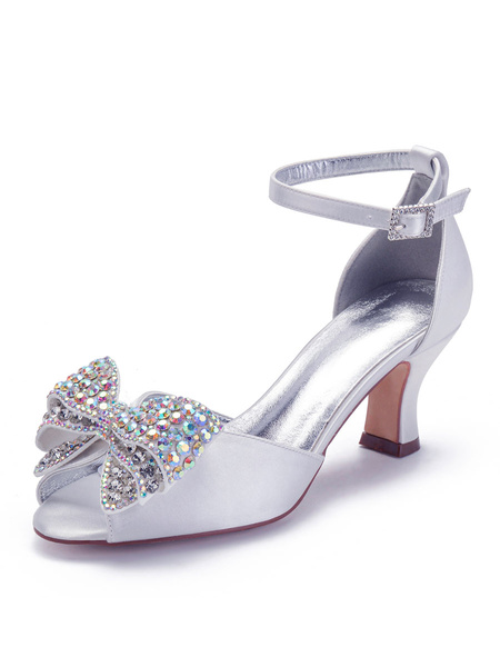 Milanoo Kitten Heel Mother Shoes Ivory Wedding Guest Shoes Satin Rhinestones Round Toe Bridal Shoes