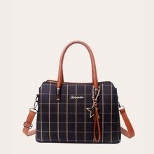 Plaid Satchel Bag With Bag Charm