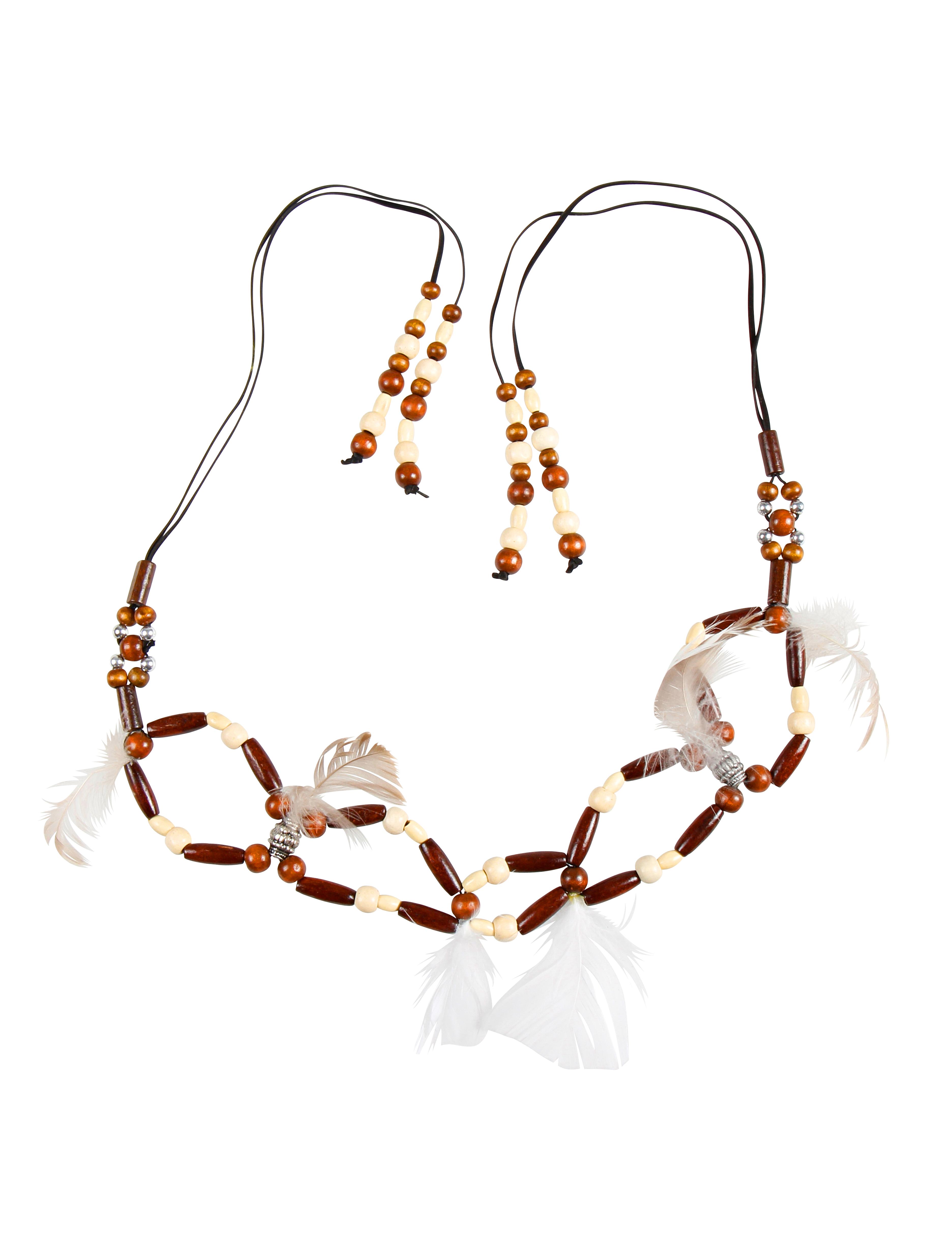 Kostuemzubehor Halskette mit Kuegelchen und Federn Farbe: braun/weiss