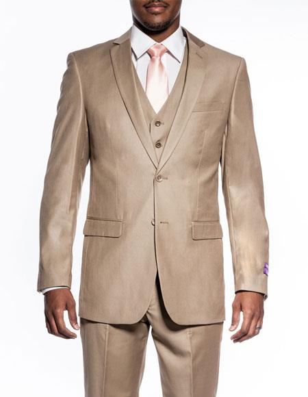 Mens 3 piece slim fit wedding prom Tan Beige vested suit