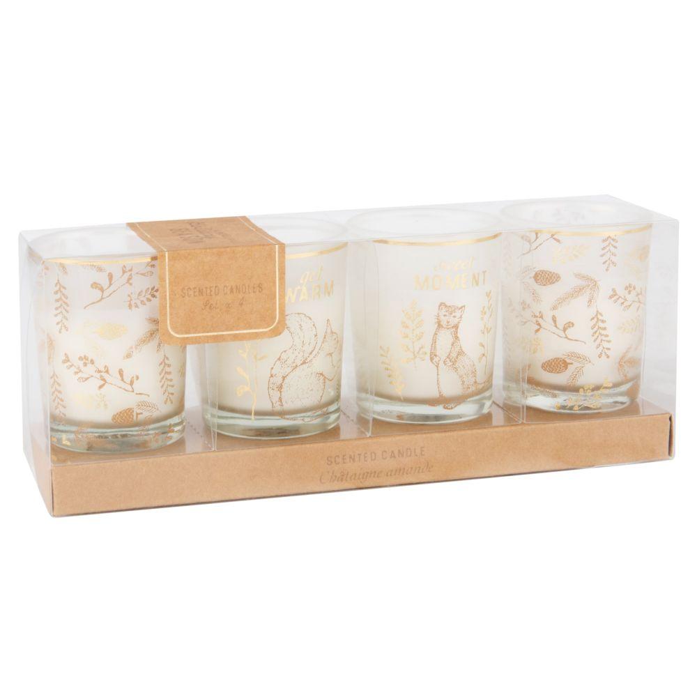 Set 4 Duftkerzen-Laempchen aus Glas mit Druckmotiv