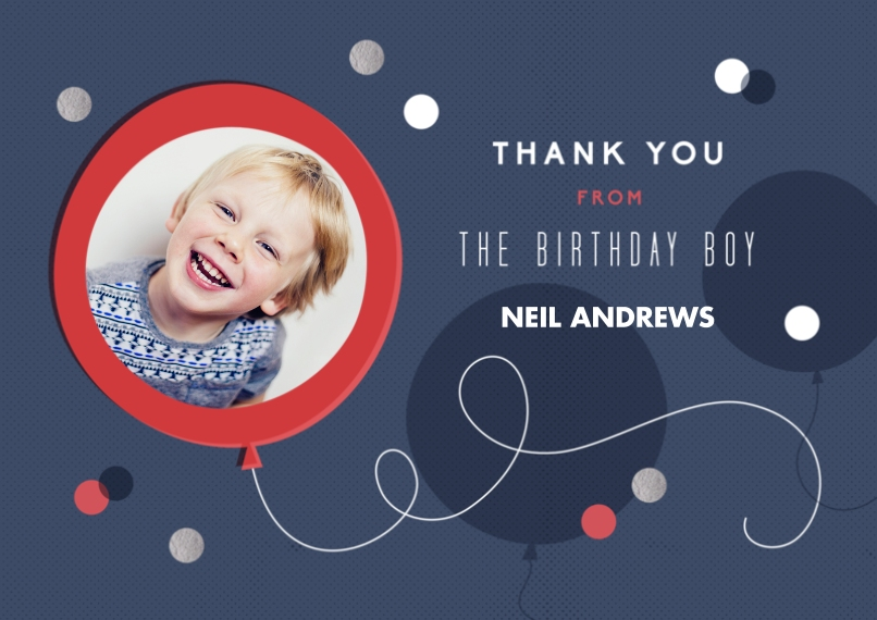 Kids Thank You Cards 5x7 Cards, Premium Cardstock 120lb with Scalloped Corners, Card & Stationery -Birthday Thanks Boy