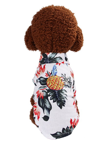 Milanoo Pet Costume Hawaiian White Clothes Polyester Pet Supply