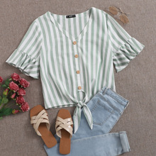 V-neck Ruffle Cuff Knot Hem Striped Top