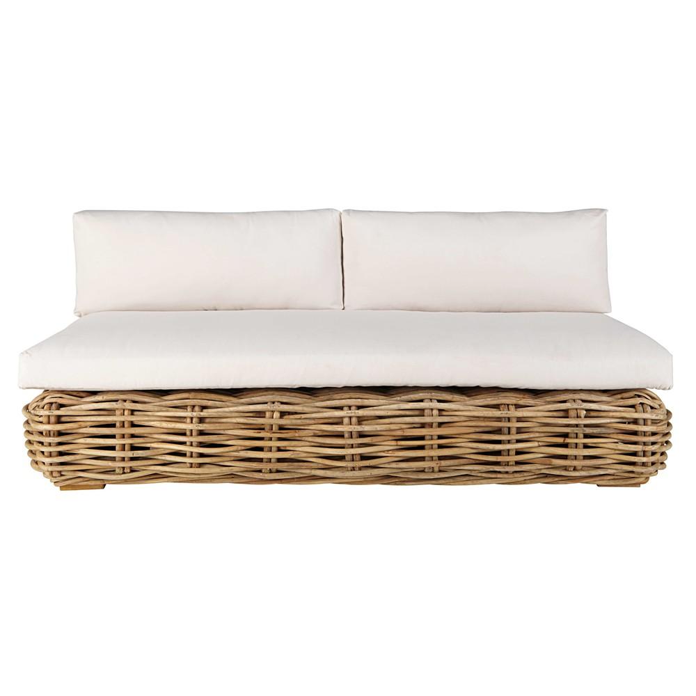 Gartenbank 3-Sitzer aus Rattan mit ecrufarbenem Kissen St Tropez