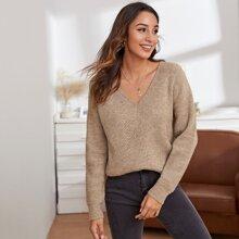 Pullover mit V Kragen und sehr tief angesetzter Schulterpartie