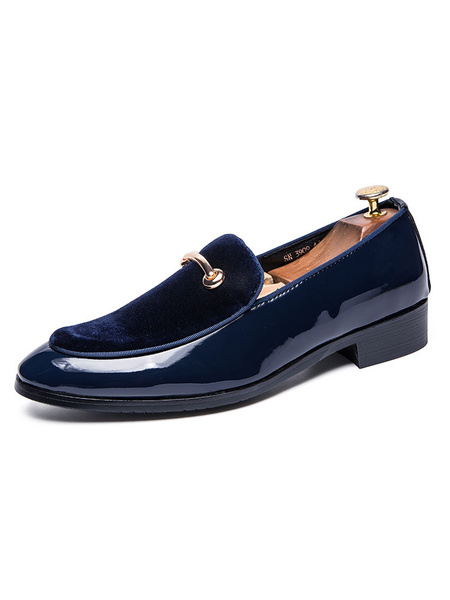 Milanoo Mens Black Leather Loafers Shoes with Metal details Slip-On Shoes