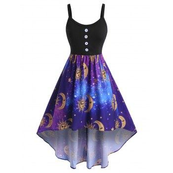 Plus Size Sun Moon Print High Low Dress