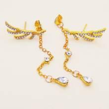 1pair Rhinestone Decor Wing Chain Decor Earring Jackets