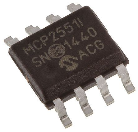 Microchip MCP2551-I/SN, CAN Transceiver 1Mbit/s 1-Channel ISO 11898, 8-Pin SOIC (100)