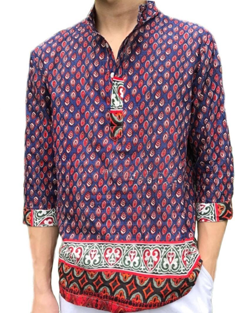 Ericdress Button Color Block Casual Men's Loose Shirt