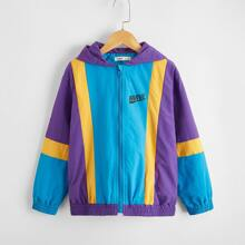 Boys Letter Graphic Color Block Zip Up Hooded Coat