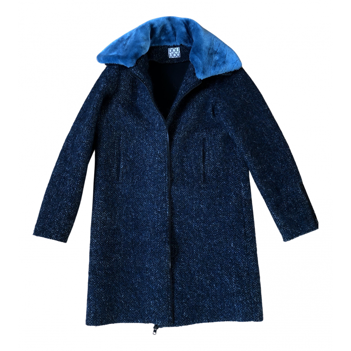 Douuod N Blue Wool coat for Women 44 IT