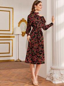 Cutout Asymmetrical Shoulder Self Belted Floral Dress