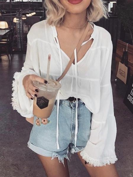 YOINS White Tie-up Design V-neck Long Sleeves Blouse