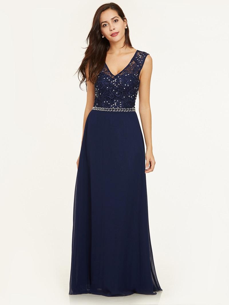 Ericdress V Neck Beaded A Line Evening Dress