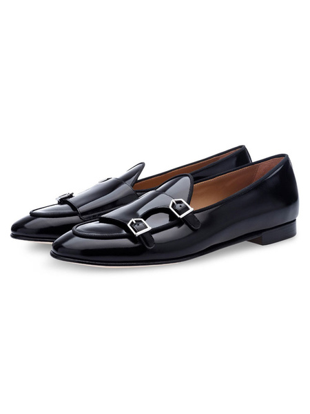 Milanoo Monk Mens Dress loafers Shoes with Black Round Toe Leather Prom 2020