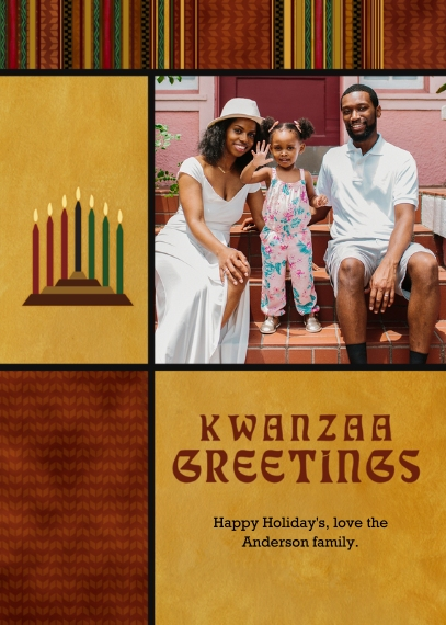 Kwanzaa Photo Cards 5x7 Cards, Premium Cardstock 120lb with Rounded Corners, Card & Stationery -Kwanzaa Greetings