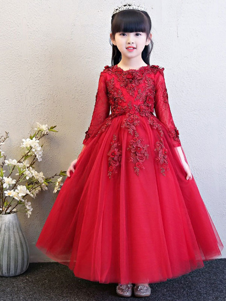 Milanoo Flower Girl Dresses Jewel Neck 3/4 Length Sleeves Flowers Kids Social Party Dresses