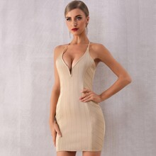Adyce Cut Out Back Notched Neckline Bodycon Dress