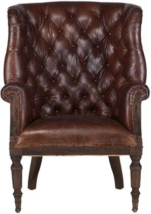 Charles Collection ZWCA200-011 Deconstructed Armchair with Vintage Cigar Leather and Solid Wood Legs in