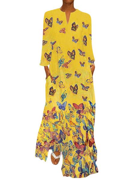 Milanoo Vestido largo de manga larga con cuello en V blanco Mariposa estampada de poliester Vestido largo hasta el suelo